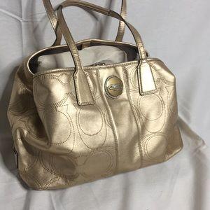 Coach golden tote bag